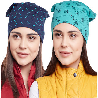 Buy Vimal-Jonney Printed Navy Blue And Turqouise Beanie Cap For Women(Pack  Of 2) Online - Get 80% Off b242ec1cc212
