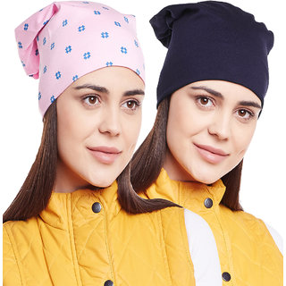 Vimal-Jonney Printed Pink And Plain Navy Blue Beanie Cap For Women(Pack Of 5bda17b07455