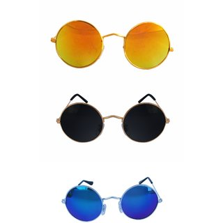 Derry Pack of Three Black, Blue and Gold Lens Unisex Mirrored Round Sunglasses (Round Style)
