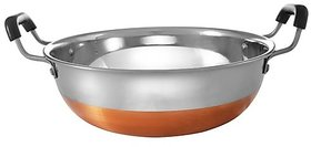 Jagani High Grade Stainless Steel Copper Bottom Kadhai with Handle Kitchen Utensil Kadai - 4000 ml