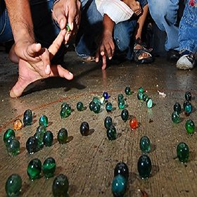 Kuhu Creations Supreme Marble Glass Playing Balls (Kanche, Goli) Traditional Indian Game. (12 Units, Multicolor 1cms)