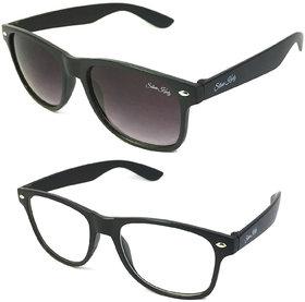 Silver Kartz Combo of 2 Wayfarer Unisex Sunglasses(scm03Black, Clear)