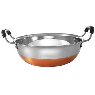 Jagani High Grade Stainless Steel Copper Bottom Kadhai with Handle Kitchen Utensil Kadai - 3200 ml
