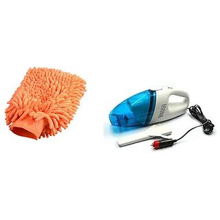 Combo of Car Vacuum Cleaner with Microfiber Glove