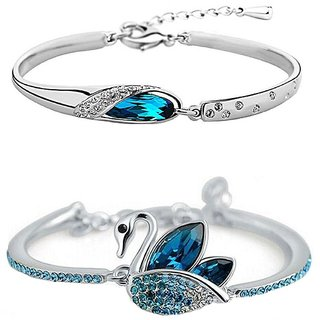 Om Jewells Silver Crystals Combo Of 2 Bracelets For Girls and Womens CO1000027D