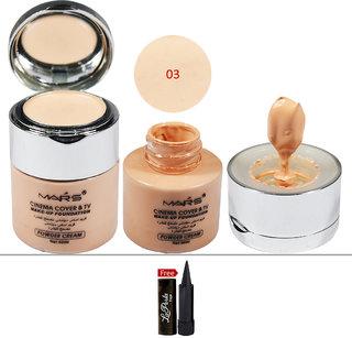 Mars Cinema Cover  TV Make-up 03 Foundation (Powder Cream) 50ml With Free LaPerla Kajal