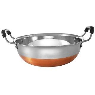 Jagani High Grade Stainless Steel Copper Bottom Kadhai with Handle Kitchen Utensil Kadai - 1200 ml