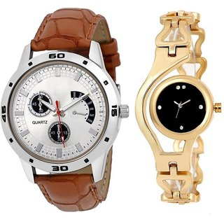 TRUE CHOICE BRWON JEKO AND GOLD CHIAN COUPLE WATCH WITH 6 MONTH WORRTY.