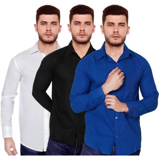 Spain Style Solid Slim Fit Casual Shirts For Men's (Pack Of 3)
