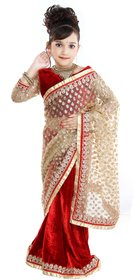Pratima Multicolour Half N Half Velvet Ready to wear Saree