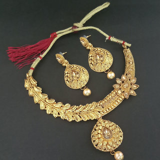 JewelMaze Gold Plated Brown Austrian Stone Necklace Set-1107955