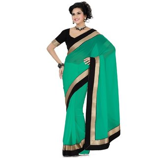 Florence Green Solid Saree Without Blouse