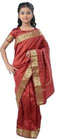 Pratima Maroon blended Party wear Ready to wear Kids Saree
