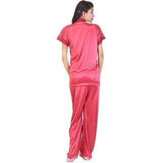 b266fe42ac Satin night suit night dress nighty three piece Valencia sleepwear smooth  poly satin fabric Women Sleep