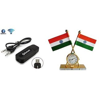 love4ride Combo of Car Bluetooth Device with Indian Flag with Clock