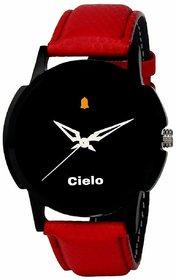 Cielo Quartz Black Dial Red Strap Watch for mens
