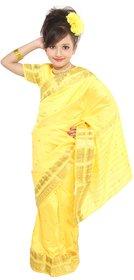 Pratima Lemon Gold blended Party wear Ready to wear Kids Saree