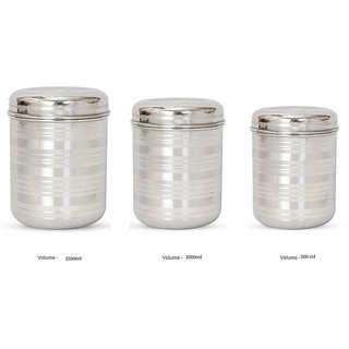 Beau Designer Stainless Steel Storage Big Containers   Set Of 3   Silver