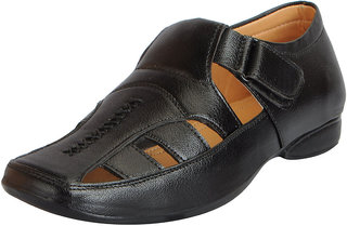 Fausto Men's Black Premium Leather Outdoor Sandals