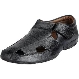 472da822d961 Buy Fausto Men s Black Premium Leather Outdoor Sandals Online - Get 11% Off
