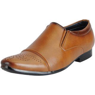 Fausto Mens Tan Formal Slip On Shoes