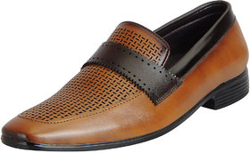 Fausto Men's Tan Formal Slip On Shoes