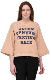 Urban Republic Beige Cotton Sweatshirt  For Women