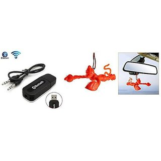 love4ride Combo of Car Bluetooth Device with Flying Hanuman