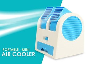 Whinsy Mini USB Fragrance Air Conditioner Cooling Fan Cooling Portable Desktop Dual Bladeless Air Cooler - Assorted Color