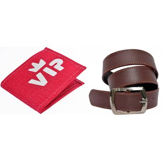 fashion village red vip wallet  1 brown belt combo pack of 2
