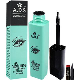ADS Volume Express Falsies Waterproof Mascara 10ml With Free LaPerla Kajal