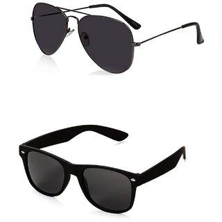 a1740b4bfd2 Buy Meia Black Metal Full Rim Aviator Combo of Men s Aviator and Wayfarer  Sunglasses Online - Get 84% Off