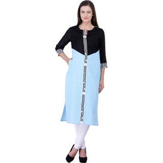 Laabha Women's Linen Blue Solid Kurta