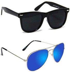Wrode Avtrsilbluemrcywyfrblk Wayfarer Aviator Sunglasses Black Blue