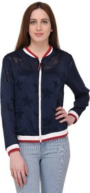 Urban Republic Blue Woven Bomber Jackets For Women