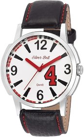 Silver Bell Round White Dail Black Leather Strap Analog