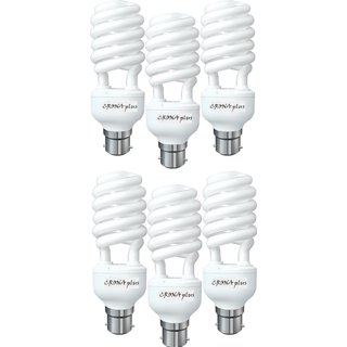 6pcs. CFL 25W Lamp, 80 Energy Power Saver Light With 2 Year Warranty, Ideal For Bedrooms, Study room, Shop, Office Etc.