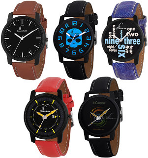 Jack Klein Combo of 5 Graphic Different Color Strap Analogue Wrist Watch for Men