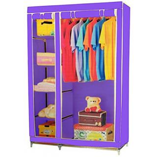 CheckSums  11995  3.5 Feet Creative Purple Cabinet, Easy Installation Folding Wardrobe Cupboard Almirah Foldable Storage Rack Collapsible Cloths Organizer available at ShopClues for Rs.1399