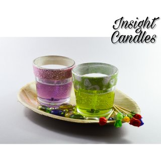 Gel Wax glass candle Green  Violet color with nature vegan coconut Tray, Glass Pebbles and small artificial roses