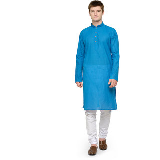 RG Designers Blue  White Plain Cotton Kurta Pyjama Set For Men