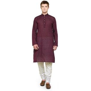 RG Designers Maroon Plain Full Sleeves Kurta Pyjama Set For Men