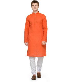 RG Designers Orange  White Full Sleeves Kurta Pyjama Set For Men