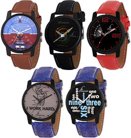 Combo of 5 Graphic Different Color Strap Quartz Analogue Wrist Watch for Men