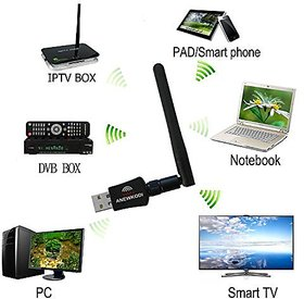 SCORIA Wifi 600Mbps USB WiFi Dongle 600Mbps Wireless Adapter 802.11n/g/b with Antenna - Black