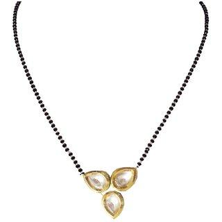 Aabhu Trendy Bollywood Inspired Gold Plated 3 Kundan Studded Fancy Reversible Mangalsutra Tanmaniya Jewellery For Women