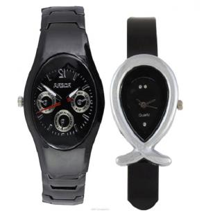 Rosra Black Men and Fish Black Women Watches Couple For Men and Women