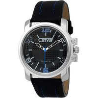Big Round Black Dial Silver Case Blue Hands Watch For M
