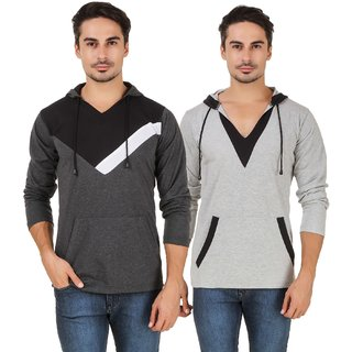 Pack of 2 Aurelio Marco Grey & Black Hooded T-Shirts For Men