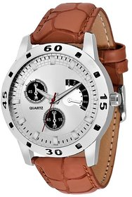 HRV Round Dial Brown Leather Strap Men Quartz Watch For